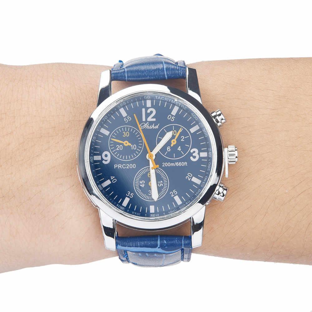남성 패션 시계 블루 레이 유리 중립 석영 손목 표피 가죽 스트랩 남성 시계 시뮬레이션 브랜드 럭셔리 reloj
