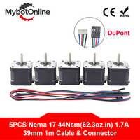 5 pièces Nema 17 moteur pas à pas 4 fils 39mm Nema17 moteur 42 moteur 42 BYGH 1.7A (17HS4401S) moteur pas à pas pour CNC moteur d'imprimante 3D XYZ