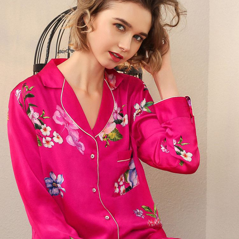 Real Silk Pajama Female Spring Autumn Silkworm Silk Long Sleeve Sleepwear Woman Rich Red Two Piece Pyjama Sets T8182 in Pajama Sets from Underwear Sleepwears