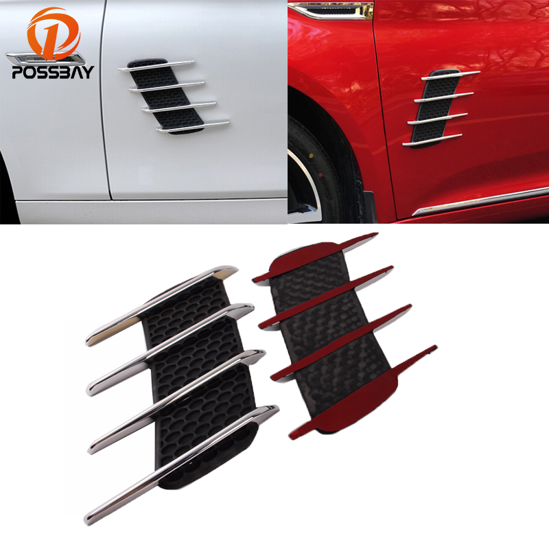 POSSBAY Universal ABS Auto Shark Grille Sticker Car Air Intake Flow Hood Vent Fender Decoration Stickers For Nissan VW BMW Opel