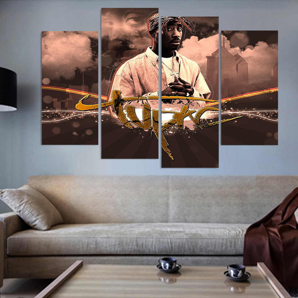 4 Panels Canvas Painting 2Pac Tupac Amaru Canvas painting home decor print poster wall art