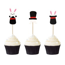 12pcs Little Cute Rabbit with Black Hat Cupcake Topper Easter Party Cake Decor Spring Celebration Supplie Free Shipping
