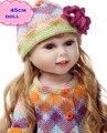 18 polegadas New Handmade American Girl Boneca De Vinil Completo Com Bastante roupas NPK Cheio de Silicone Bonecas Reborn Boneca de Brinquedo Para O Miúdo Brinquedos