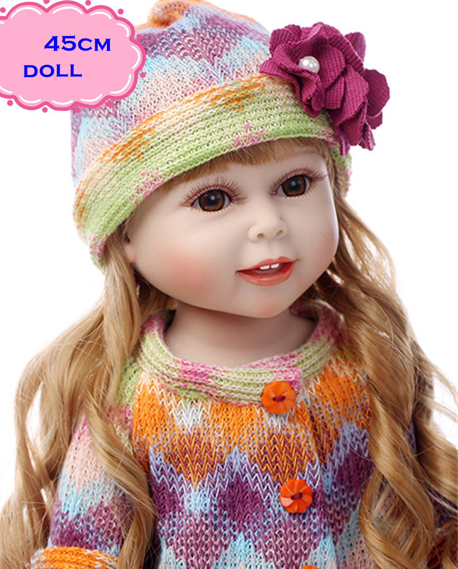 18inch New Handmade Full Vinyl American Girl Doll With Pretty Clothes NPK Full Silicone Reborn Dolls Toy For Kid Doll Brinquedos new arrived handmade american 18 inch girl doll vinyl princess smiling girls looks so pretty baby doll toys for children