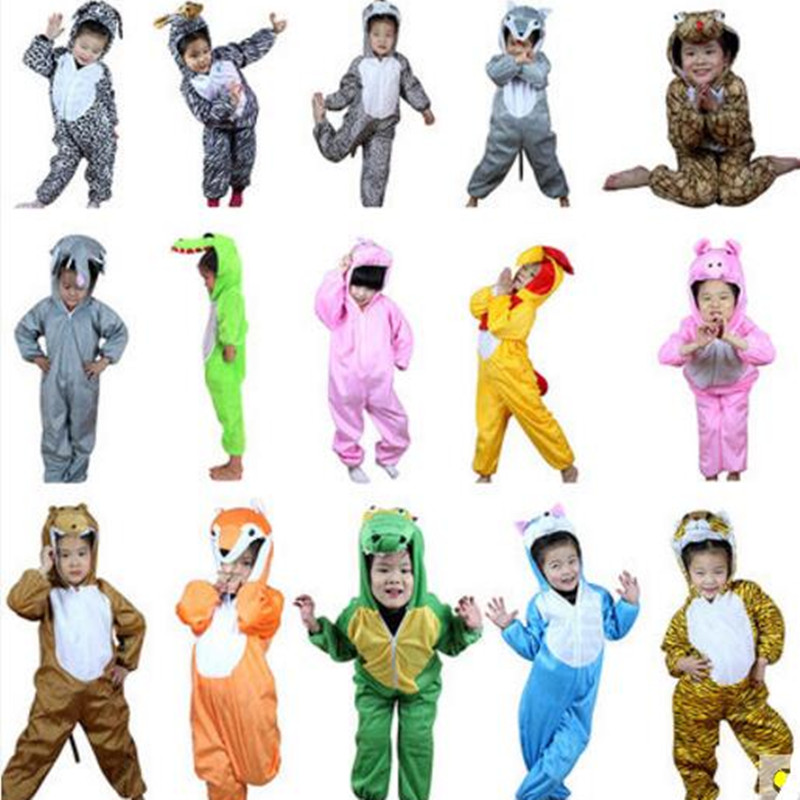 Animals Cosplay Tiger Dinosaur Leopard Cow Cat Sheep Zebra Panda Chicken Pig Wolf Children Kid Onesie Pajamas Sleepwear Jumpsuit