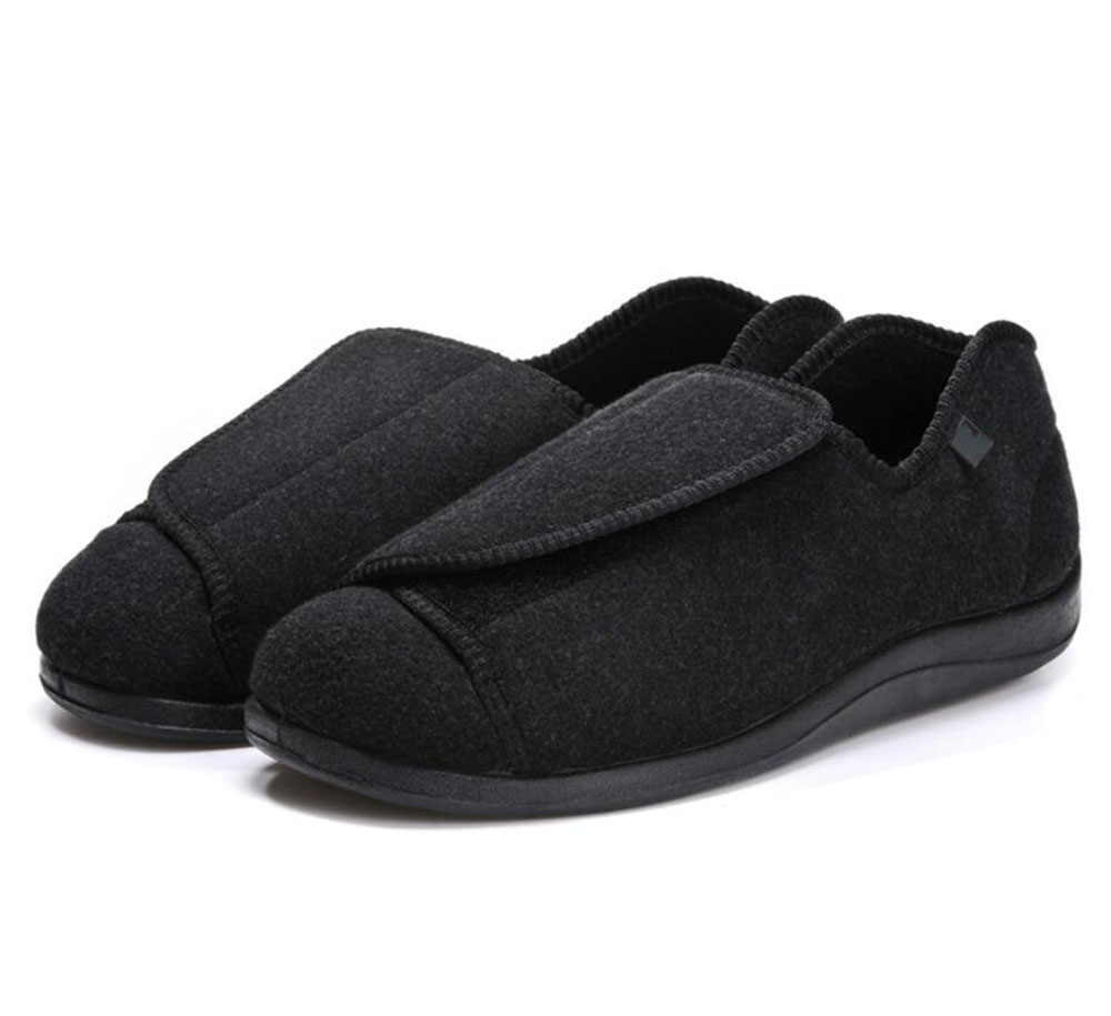 2018 Spring Autumn Hot Selling Men's Comfortable Diabetic Shoes For Foot Care Breathable Flat Heel, Shoes For Diabetics  Black