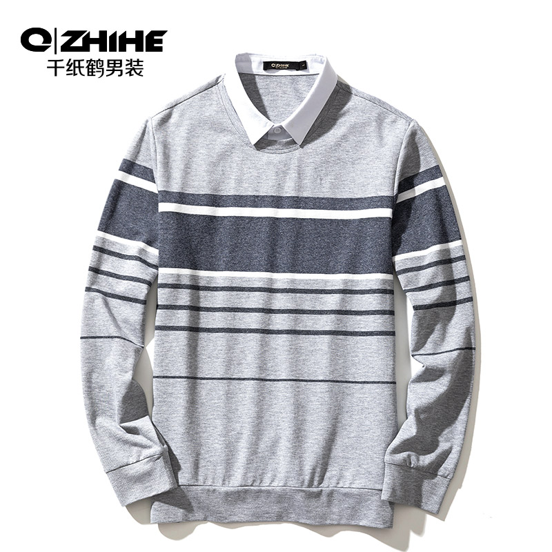 Qzhihe Men's Striped   Polo   Shirt 2019 New Fashion Casual Warm Men's Shirt Collar Knit Sweater 15115