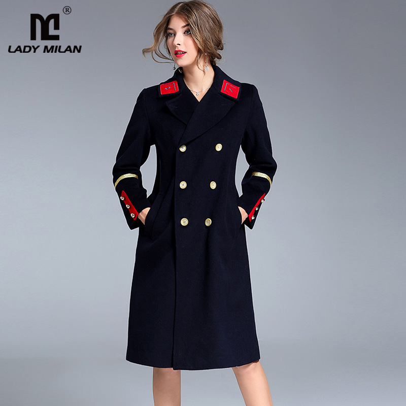 New Arrival 2018 Womens Turn Down Collar Long Sleeves Double Breasted Patchwork Elegant Fashion Woolen Coats