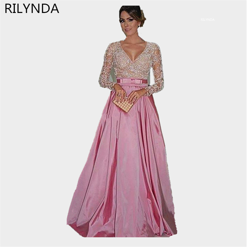 Pink Long sleeve evening dress 2016 Sexy Party dresses ...