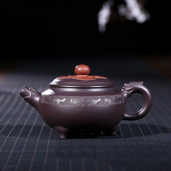 Yixing purple clay pot genuine hand-made raw ore old Purple mud tripod dragon pot Kungfu Teapot Tea Set 230 ml