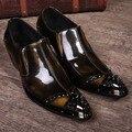 Бесплатная доставка 2015 мужская Классический медный цвет Подлинной Кожаные Сапоги Заклепки Острым Носом обувь ковбойские сапоги мужские для мужчин