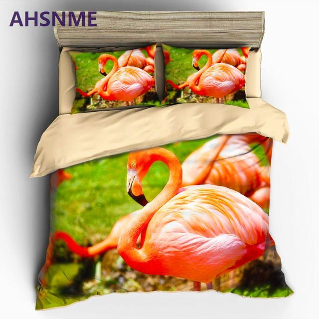 AHSNME Flamingo 3D Bedding Sets Duvet Cover Set Flower Plant Printed 3pcs Floral Bed Cover King Size Home