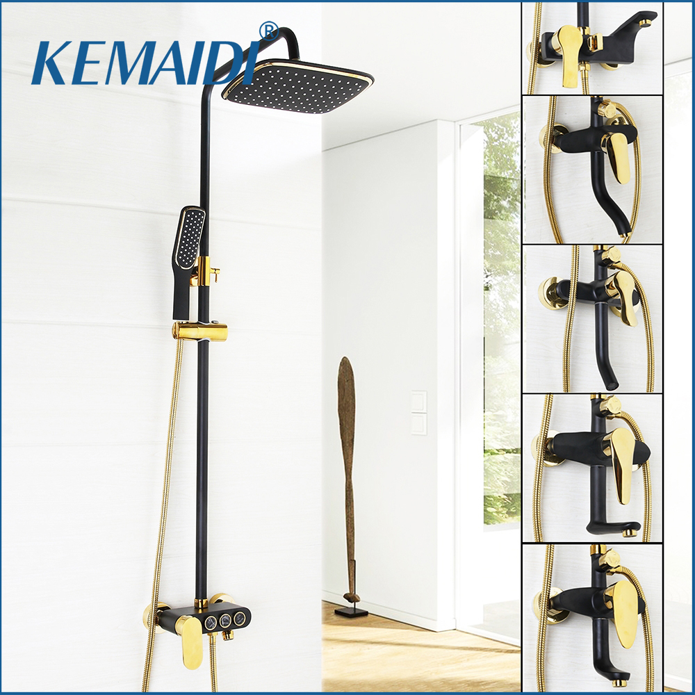 KEMAIDI New Arrival Bathroom Black Shower Set Wall Mounted Rainfall Shower Mixer Tap Faucet 3-functions Mixer Valve Good Quality kemaidi bathroom 10 led chrome shower faucet set thermostatic valve mixer tap w 6 message jets 50102b shower set