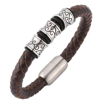 Viking Stainless Steel Leather Bracelet Strong Magnet Clasp  Viking Bracelet