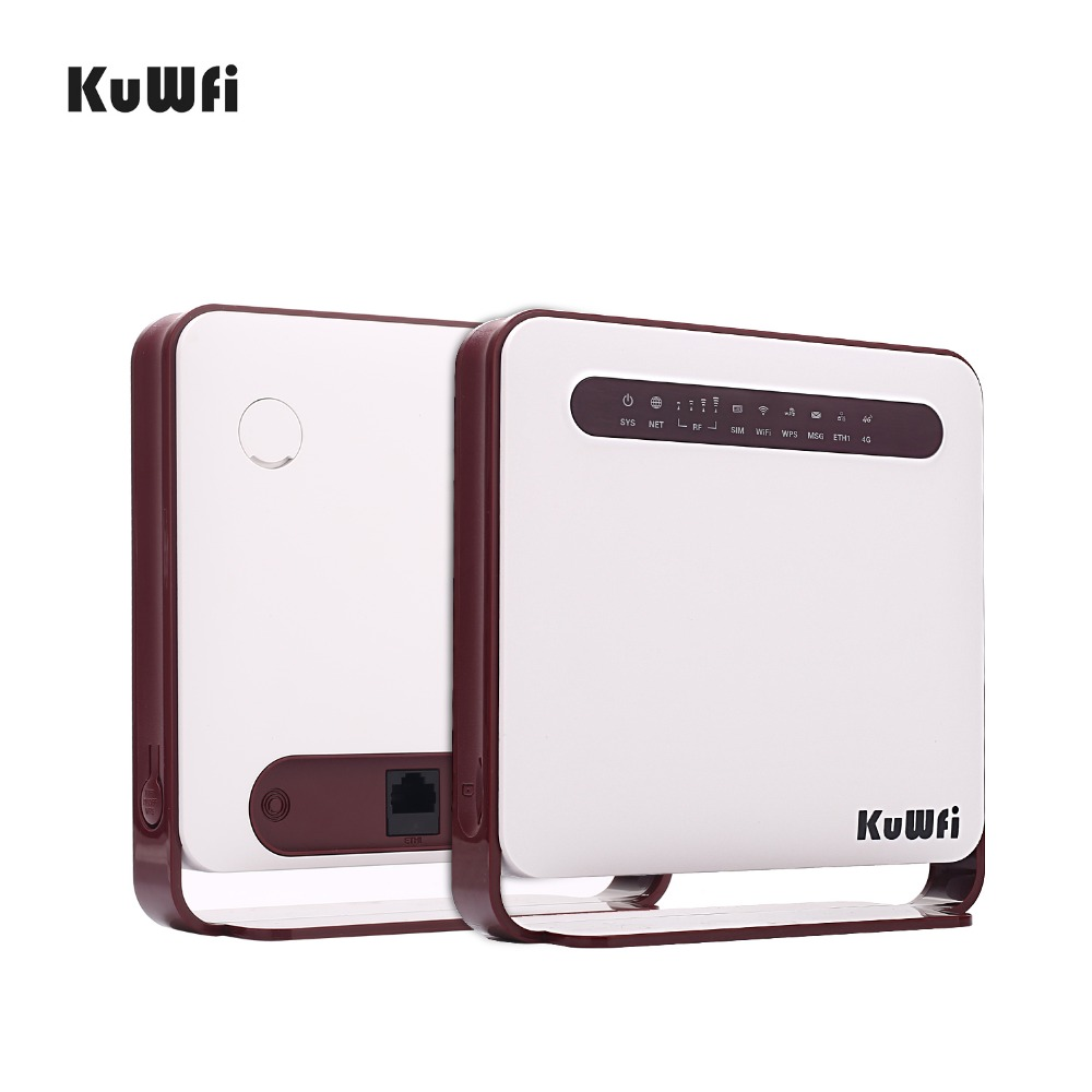 Image 4 - KuWfi 4G WiFi Router 300Mbps Wireless Wi Fi Mobile LTE 3G/4G Unlocked CPE Router with SIM Slot 4LAN Ports Support 32 Wifi Users-in Wireless Routers from Computer & Office