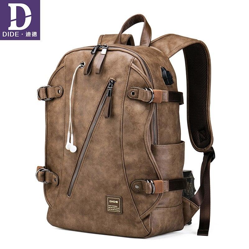 DIDE Anti theft zaino Ricarica USB Sacchetto di Scuola Dello Zaino uomini di Viaggio ragazzi adolescenti zaino In Pelle bagback impermeabile