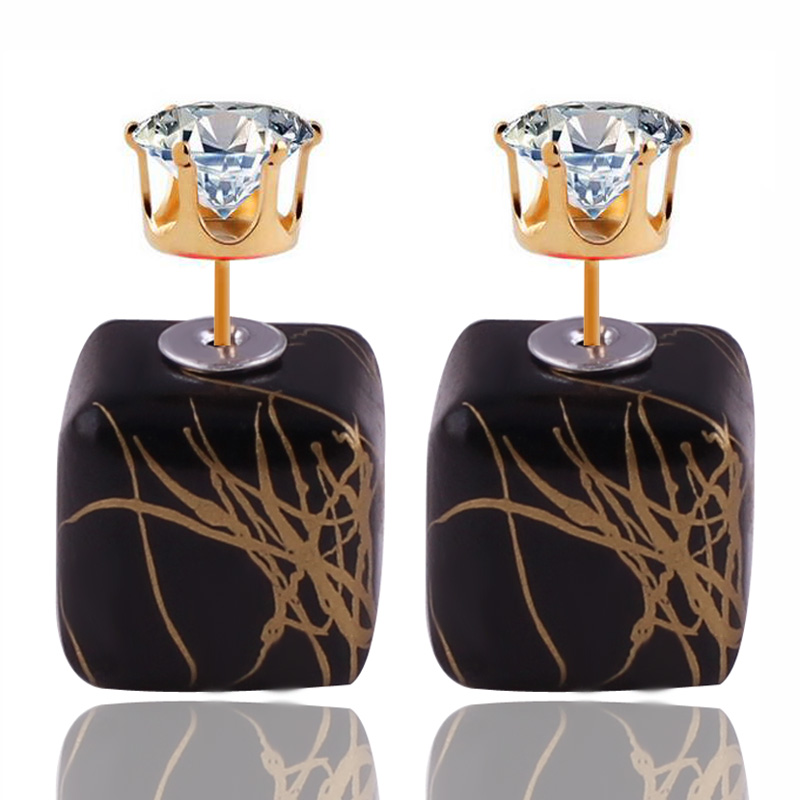 11 Colors New Design Luxurious Double Sides Earrings Bohemian Geometric Brushed Gold Color Crown Crystal Earrings