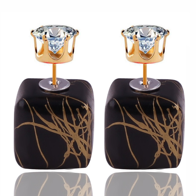 11 Colors New Design Luxurious Double Sides Earrings Bohemian Geometric Brushed Gold Color Crown Crystal Earrings For Women