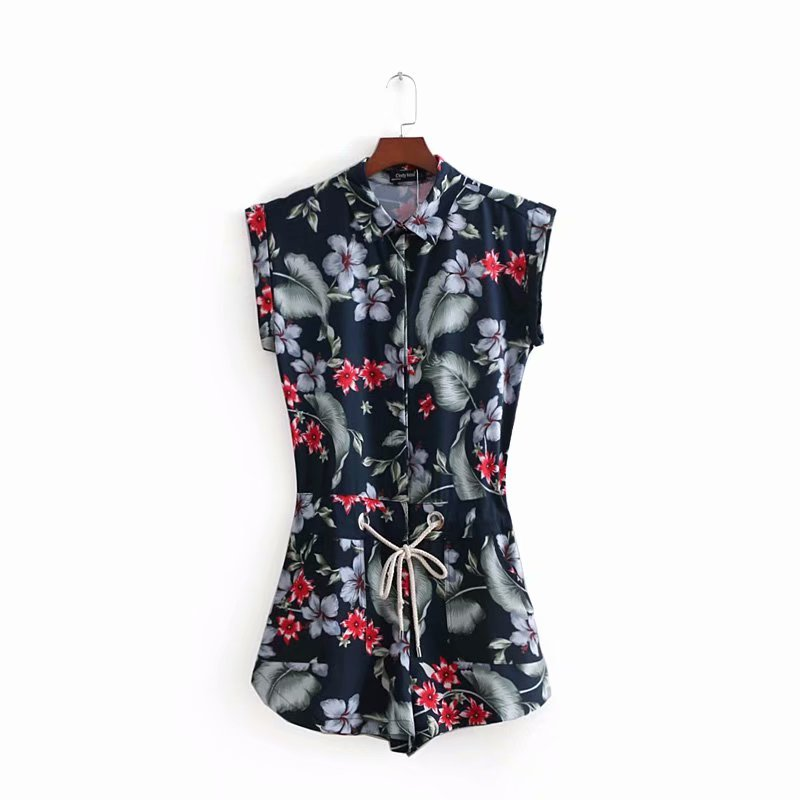 European Style Ladies Summer New Arrival Womens Clothing Pants, Fashion Casual Print Shorts Vintage Drawstring Slim Jumpsuits