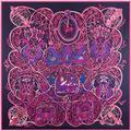 Boutique de Lujo de Las Mujeres 100% Seda de la Tela Cruzada Bufandas Suaves Femenino encubrimiento Mantón Cuadrado Grande de Mil y Una Noches Pashmina Bufanda