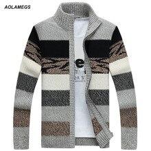 Aolamegs Men Sweater Fashion Contrast Color Autumn Winter Cardigan Outwear Zipper Sweatercoat Male Knitting Sweter Hombre M-3XL