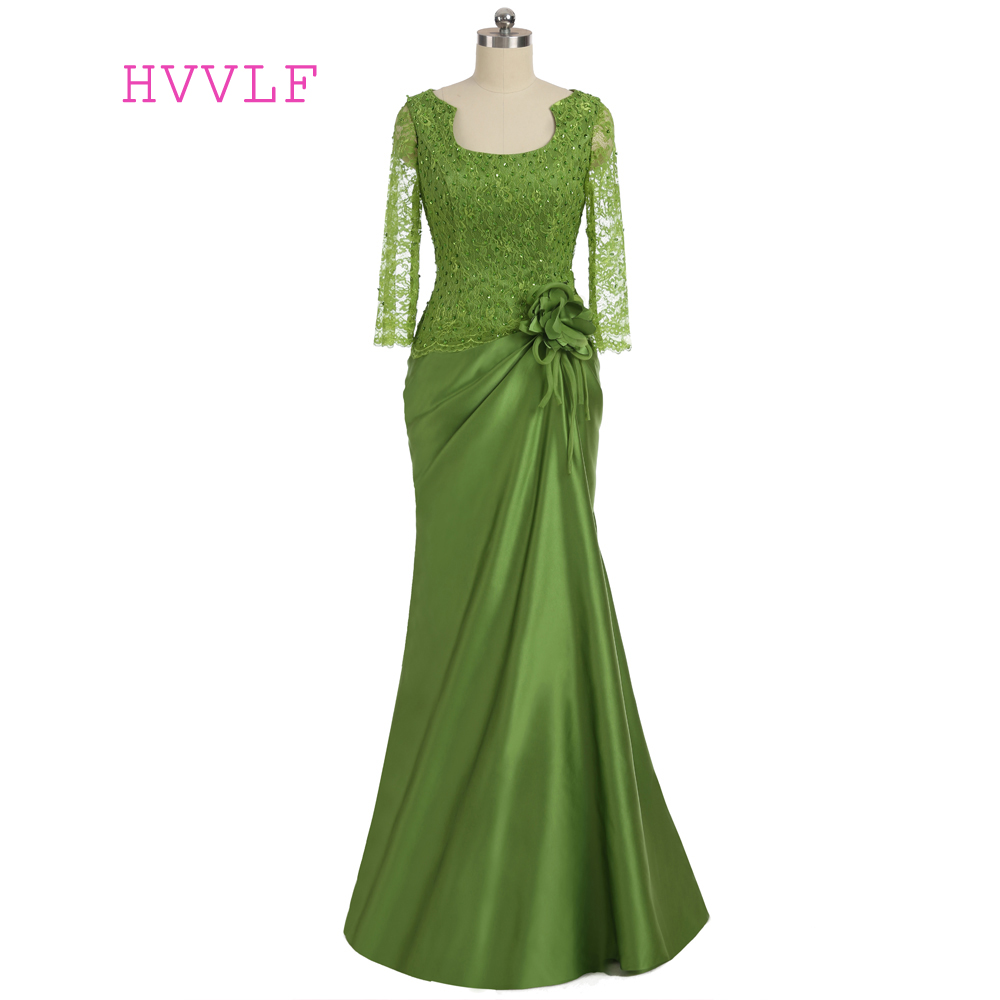 Plus Size Green 2019 Mother Of The Bride Dresses Mermaid Long Sleeves Lace Beaded Wedding Party