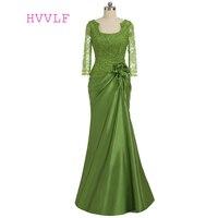 プラスサイズグリーン2018母の花嫁ドレス人魚ロングスリーブレースビーズウェディングパーティードレス母ドレス用結婚式