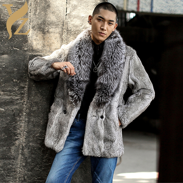 31705b45bbc9b Aliexpress.com : Buy Real Fur Rabbit Fur Jackets With Silver Fox Fur Collar  Nature Rabbit Fur Coats Men's Jacket Warm Overcoats Capped Winter 2018 ...
