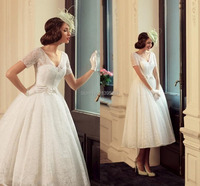Fabulous A Line Garden Wedding Dress 2015 V Neck Short Sleeves Lace Bridal Gowns With Bow