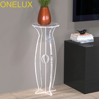 Transparent Quality Lucite Pedestal Corner Table,Acrylic Sculpture Display Stand On Cross Panel Base