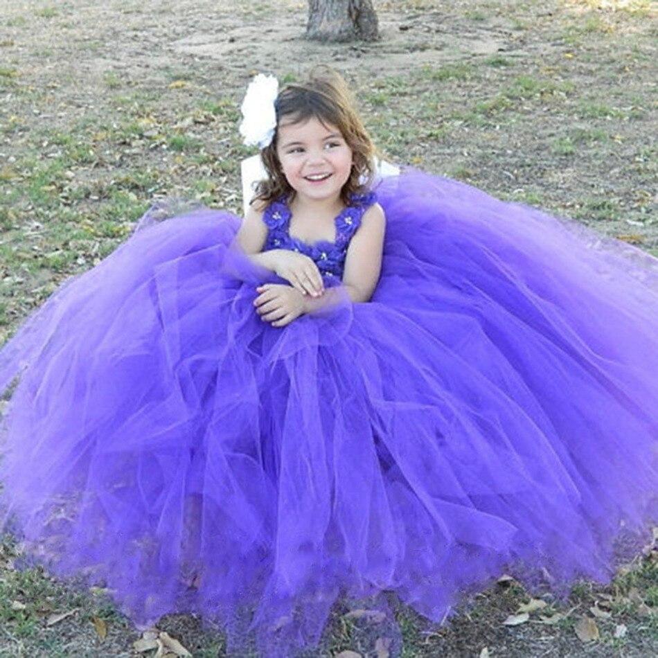 Purple Girls Princess Dress Flowers Tulle Tutu Dress Kids Pageant Wedding Party Birthday Festival Performance Dresses Vestidos