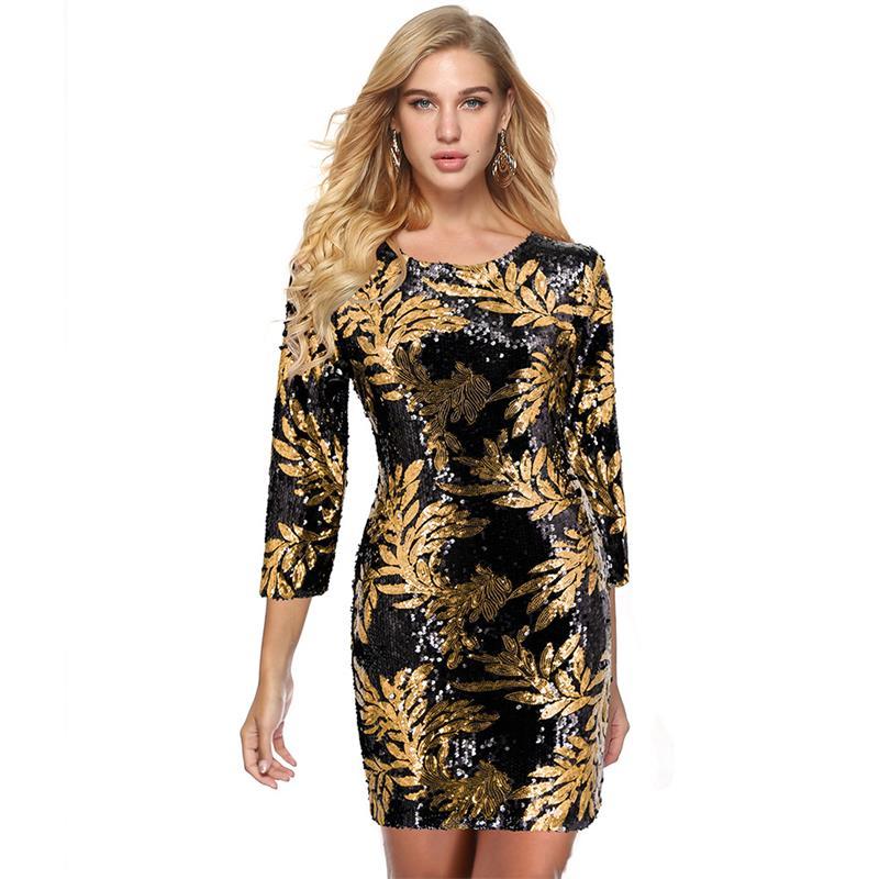 Club paillettes feuille imprimé trois quarts manches o-cou Mini robe d'été Sexy femmes dos Zip crayon au-dessus du genou robe SJFZ2467