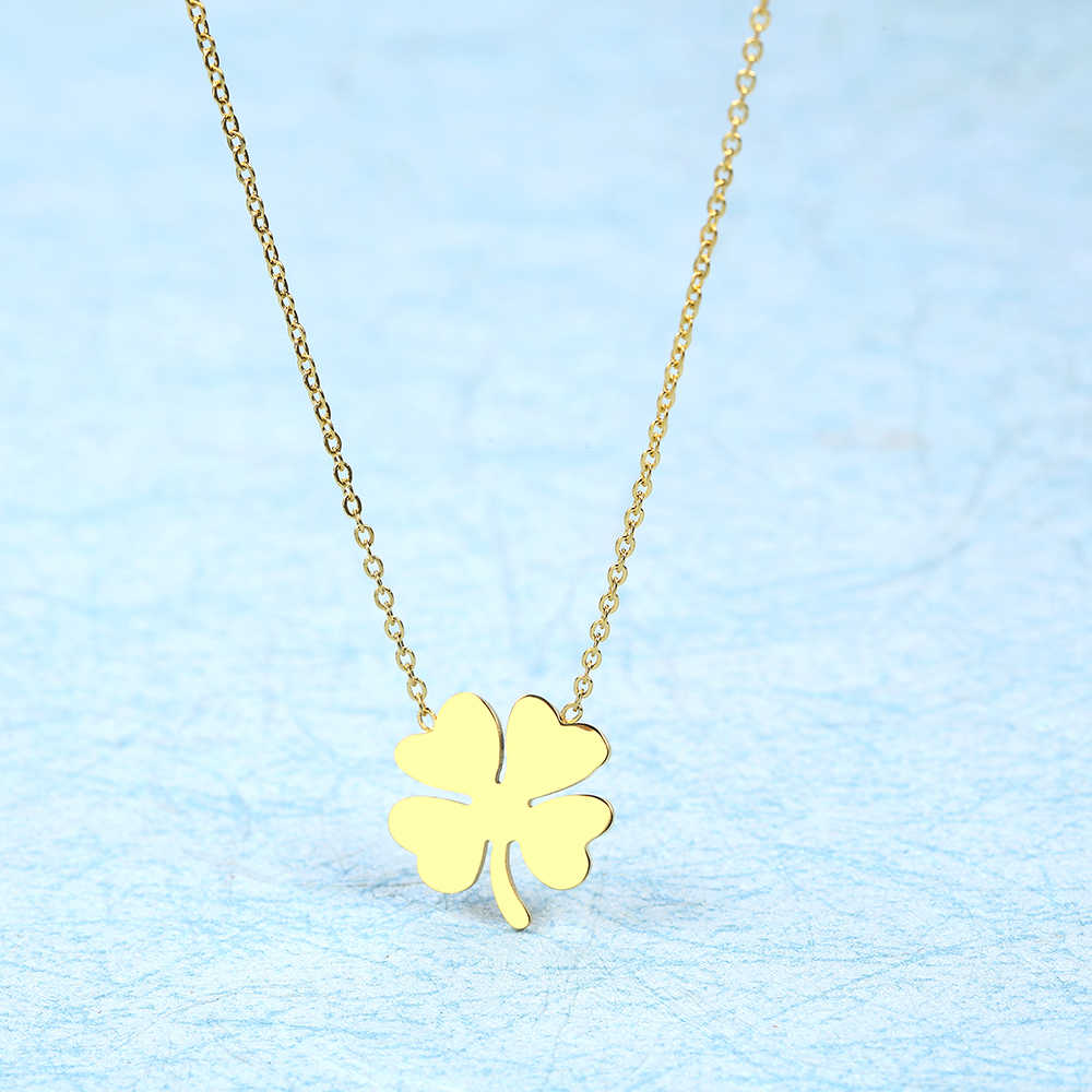 stainless steel jewelry neckless gold silver chain clover choker pendant necklace for women accessories jewellery female chocker