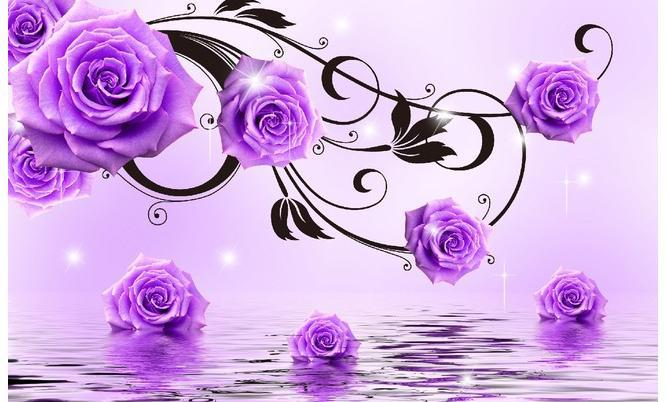 Purple Roses Background Images: Papel De Parede Reflection In The Water Purple Roses