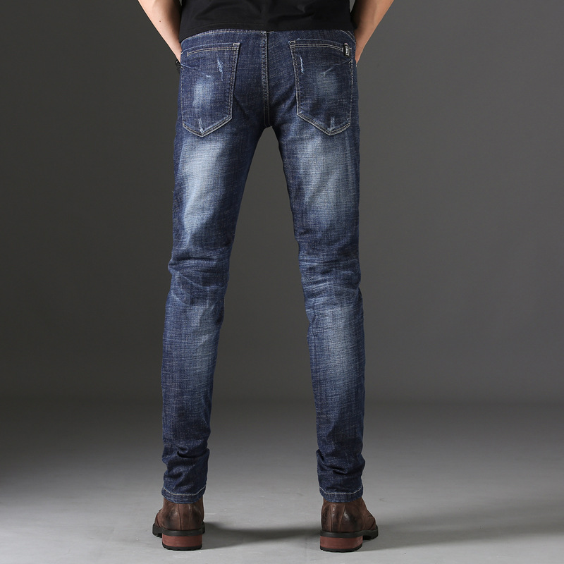 Men new high quality straight   jeans   fashion stretch slim   jeans   4DIT