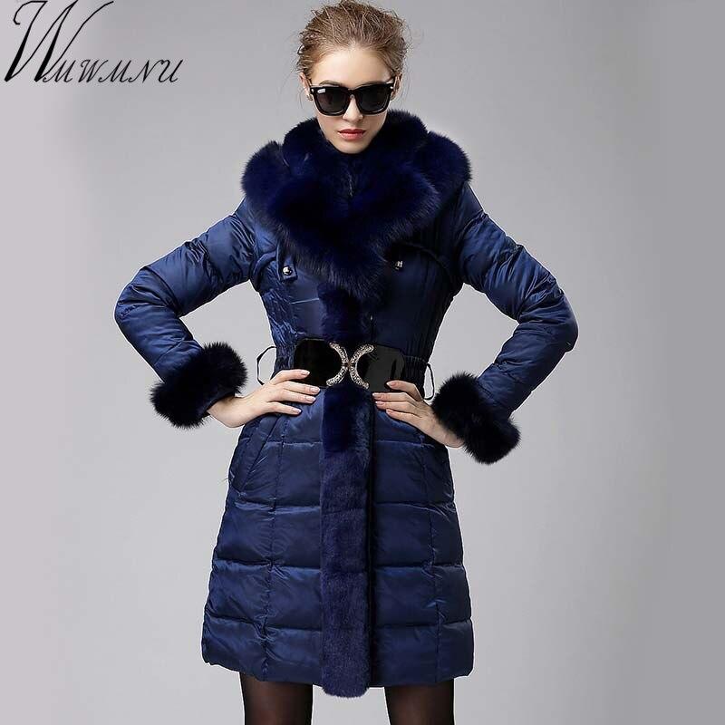 Wmwmu 2017 Plus Size 3xl Female parka Real Fox Fur Collar down jacket women down jacket coat winter slim white duck long coat цены онлайн