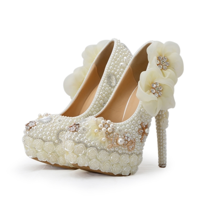 Crystal Bridal Wedding Shoes White Pearl Flower High Heel Platforms Bride Dress Shoes Banquet Ceremony Pumps Plus Size 11
