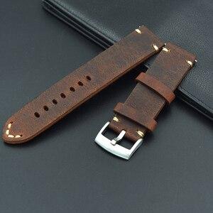 Image 2 - Retro Lederen 18 19 20 21 22mm mannen uitstekende Horloge Band Strap Voor Seiko Mido voor Omega fossiele Riem Armband horlogebanden