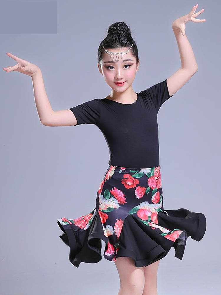 2019 Girl Short Sleeve Standard Latin Dance Dress Children Ballroom Dance Dresses Kids Salsa Rumba Cha Cha Samba Tango Dress