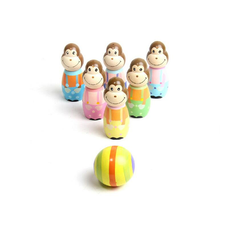2016 hot sale free shipping pool balls multicolor wooden monkey design bowling pin and ball toy for kids gift