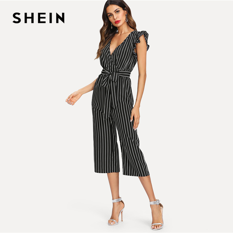 a6740eba9aac SHEIN Black and White Elegant Vertical Stripe Ruffle Detail Wrap Deep V  Neck Belted Jumpsuit Summer Women Workwear Jumpsuit-in Jumpsuits from  Women s ...