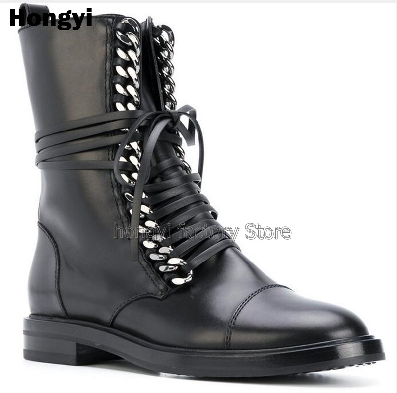 Black Leather Gold Silvery Chain Ankle Boots Round Toe Lace-up Flat Winter Short Boots Women Ridding Boot Strap Motorcycle Boot new fashion black pu leather lace up martin boot woman round toe riding boots designer chain motorcycle short booty