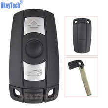 OkeyTech Uncut Blade 3 Buttons Remote Key Case Shell for BMW 1 3 5 6 7 Series E90 E91 E92 E60 Smart Keyless Fob Smart Card Cover