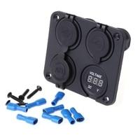 4 In 1 DC 12V Dual USB Outlet Car Charger W/ Cigarette Lighter Socket Voltmeter L15