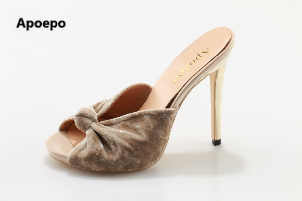 Apoepo brand Red black velvet knot women high heels shoes peep toe slippers summer pumps women size 43 slides butterfly shoes apoepo brand 2017 zapatos mujer black and red shoes women peep toe pumps sexy high heels shoes women s platform pumps size 43