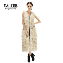Plus Size Women Fur Vest Winter Autumn Strip Sewed Together Raccoon Dog Fur Vests X-Long Size Women Waistcoats Fur