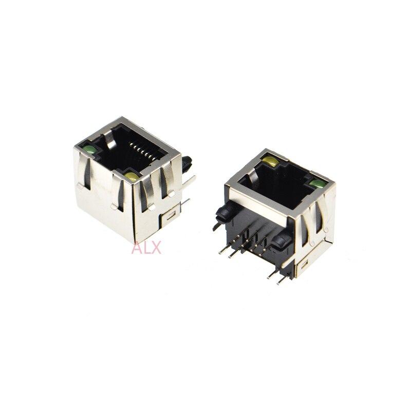 10 шт. RJ45 сетевой Ethernet гнездовой разъем, светильник с прямым углом 56 8P8C гнездовой разъем