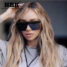 HBK Women Oversized Square Sunglasses 2019 New Fashion Brand Designer Men Vintage Big Frame Eyewear For Outdoor Oculos UV400