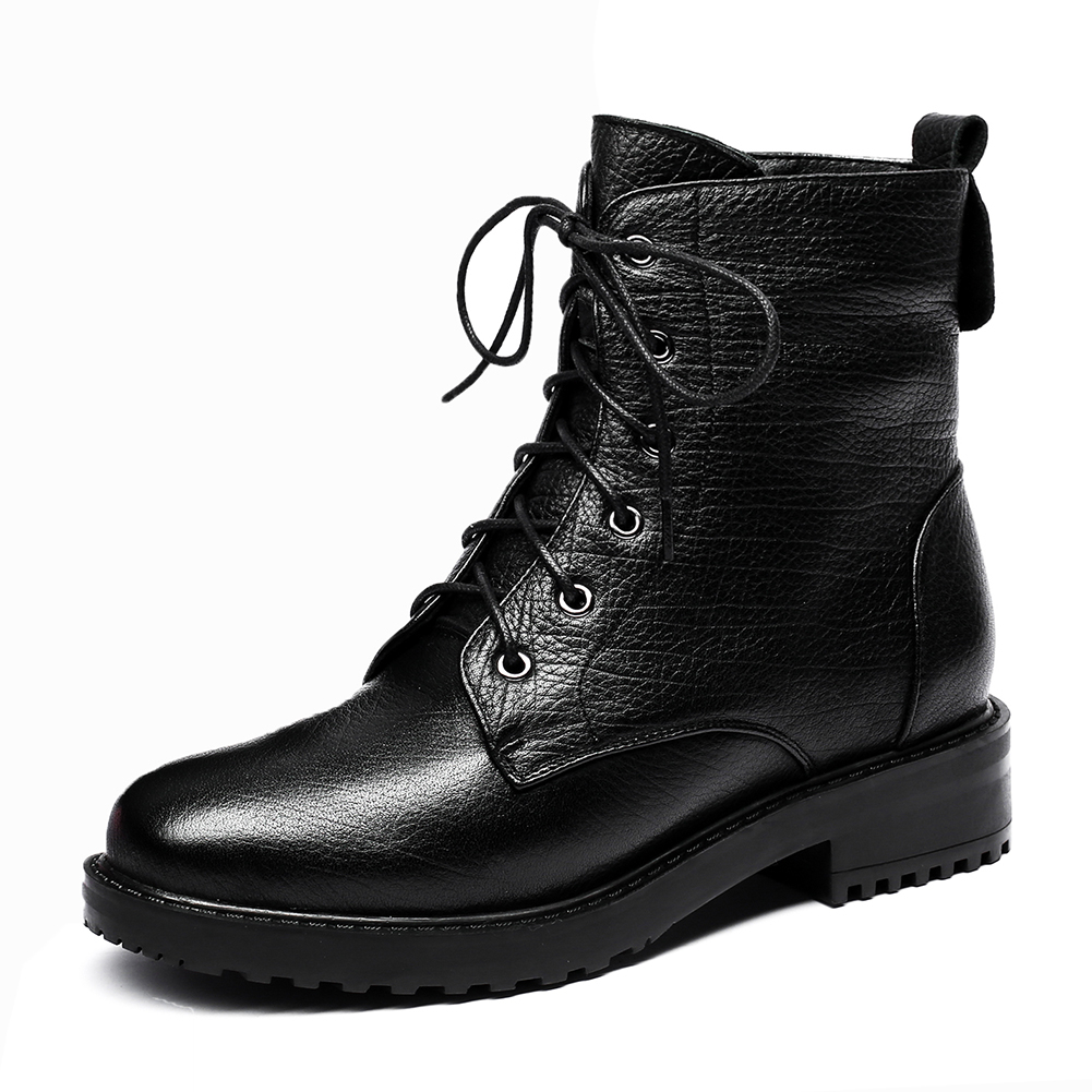 Doratasia 2018 Cow Leather genuine leather lace up Ankle Boots Woman Hot Sale fashion Shoes Woman Boots Female martin boots цена
