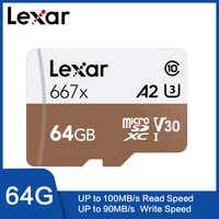 Lexar Tarjeta Original 667x Micro SDXC UHS-I con adaptador 64 GB 256GB 128 GB A2 U3 V30 Clase 10 1080 p HD 4 K 3D de vídeo